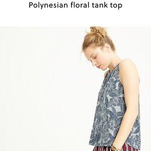 J. Crew Polynesian floral tank top navy